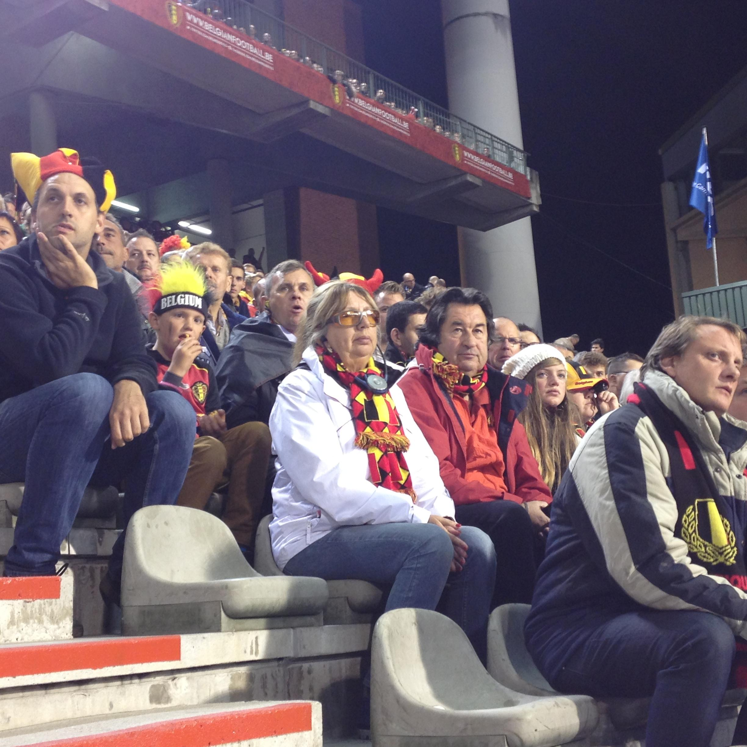 Supporters van de Rode Duivels in de bindentribune